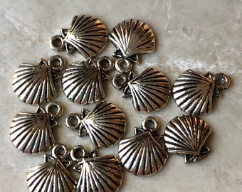 Antique Silver Shell Charms (12)