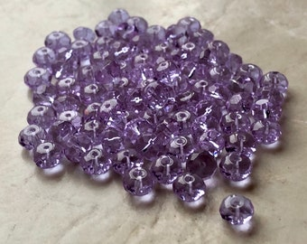 Lilac Faceted Rondelle Beads (85)