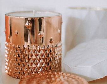 Hand Poured Soy Wax Candle in Glass Container, Rose Gold