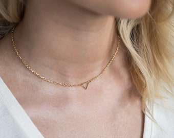 Triangle Choker Diffuser Necklace with Diffuser Bead on the Spine