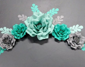 Teal and Grey Big paper flower grouping