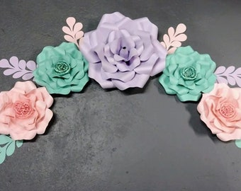 Teal Pink and Purple Big paper flower grouping