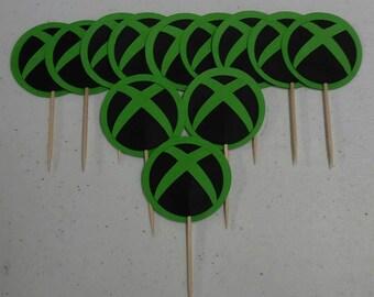 XBOX Cupcake Picks Set of 12