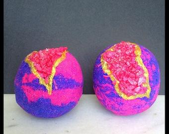 Charmed Geode Bath Bomb - Crystal Bath Bomb - Geode Bath Bomb - Love Spell Type - Fruity Floral Fragrance - Charmed