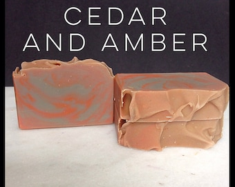 Cedar And Amber- Handmade Soap - Artisan Soap - Bar Soap - Unisex Soap - Perfect Scent For Men and Women - With Silk!