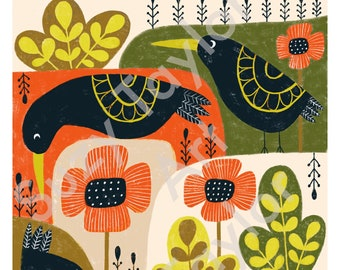 Blackbirds and Poppies printable wall art