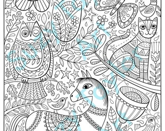 Folk art printable coloring page
