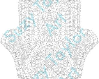 Hamsa printable coloring page