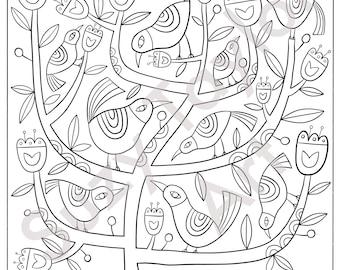 Nine Birds printable coloring page