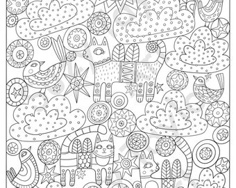 Kitty Angels printable coloring page