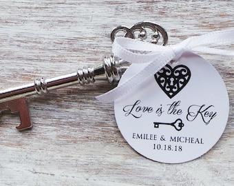 Vintage Silver Key Bottle Opener Favor w/ Personalized Tag 25qty + /Wedding Favor/Shower Favor