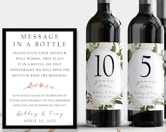 Guest Book Anniversary Wine Labels 4+ labels, 1 instructional sign..choose your colors and numbers...Rose gold and Greenery
