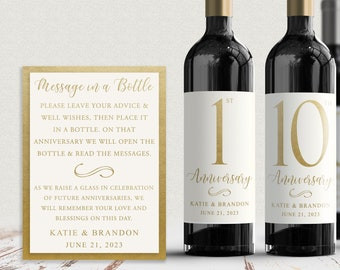 Guest Book Anniversary Wine Labels 4+ labels, 1 instructional sign..choose your colors and numbers...Simply Gold