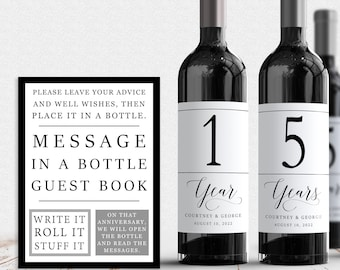 Guest Book Anniversary Wine Labels 4+ labels, 1 instructional sign..choose your colors and numbers...Modern Wine