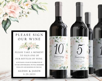 Guest Book Anniversary Wine Labels 4+ labels, 1 instructional sign..choose your colors and numbers... Botanical Frame