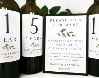 Guest Book Anniversary Wine Labels 4+ labels, 1 instructional sign..choose your colors and numbers...Simple Greenery