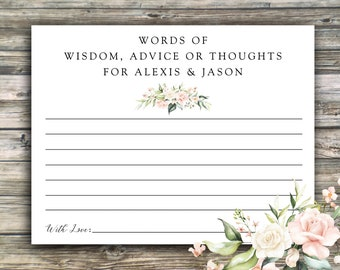 Message in a Bottle PRINTED Notes...Words of Wisdom for Bride and Groom, Shower Advice