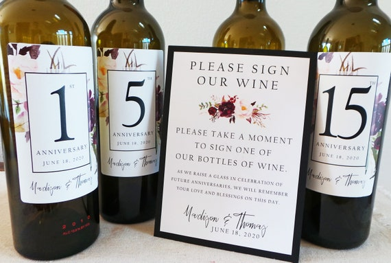 labels 1 instructional sign..choose your colors and numbers Guest Book Anniversary Wine Labels 4