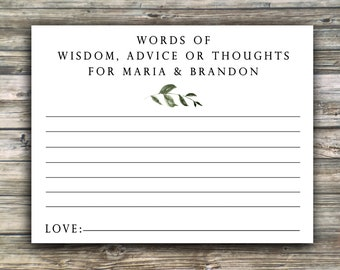 Message in a Bottle PRINTED Notes...Words of Wisdom for Bride and Groom, Shower Advice....Simple Greenery