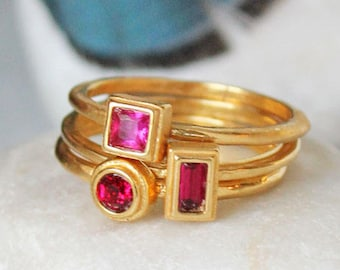 72c1aa57aa3 July Birthstone Ring in Gold. Stackable Mothers Ring with Ruby color stone.  Personalized gift for July Birthday. Stacking Birthstone Bands.