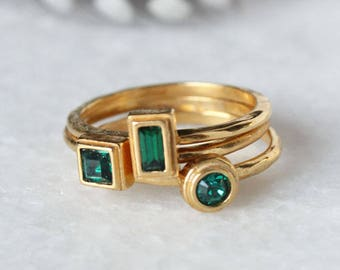 May Birthstone Stacking Ring in Gold.  Stackable Mothers Ring with Emerald color stone by Toozy. Perfect Personalized gift for May Birthday.