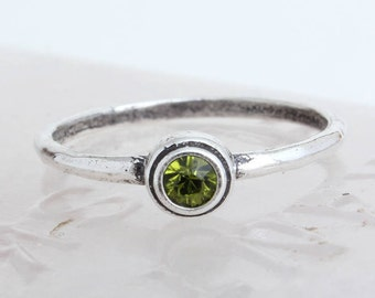 Stacking Birthstone Ring in Silver. Sterling Birthstone Stackable Ring, Custom Handmade Birthstone Rings. Personalized Mother's Day Gift!
