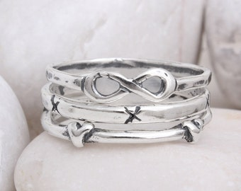 Infinity Heart Cross Stack Ring Set of 3 Stacking Bands in Sterling Silver by Toozy. Infinity Band Ring Set, Perfect Gift for Graduation!