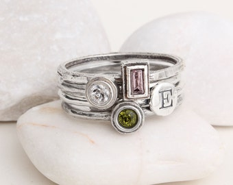Stack Rings, Personalized Mother's Ring, Sterling Silver Stackable Mothers Birthstone Rings and Initials.Design your own Custom Family Ring!