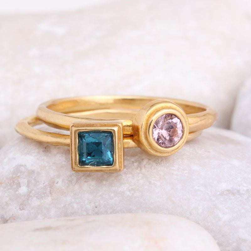 Design Your Own Ring: Design Your Own Birthstone Stacking Ring Set In 24K Gold