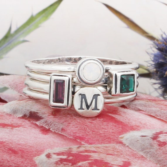 Silver Stacking Rings Stackable Birthstone Set of 2 Initial Ring Stackable Rings Dainty Ring Stacking Birthstone Rings Initial Rings