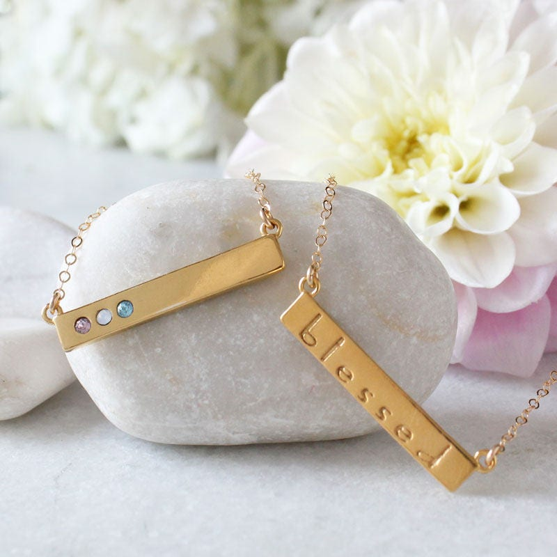 gold birthstone bar necklace stamped with blessed custom gold bar