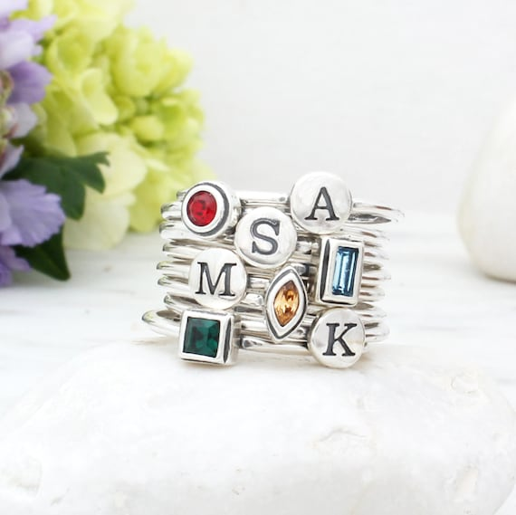 Set of 4 Gemstone Family Stacking Ring Set  Sterling Silver Birthstone and Initial Stacking Rings  Personalized Letter Stacking Rings