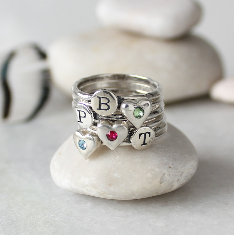 Design your own Custom Family Ring Grandmother or Friend! Great for Mom Sterling Silver Personalized Birthstone Rings and Initials