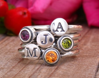 Stacking Birthstone & Initial Ring Set of 6 Rings in Sterling Silver by Toozy. Stack Ring Set, Silver Stackable Rings Personalized for Mom!