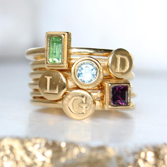 Design Your Own Ring: Create Your Own Gold Stack Ring Set With Initials And