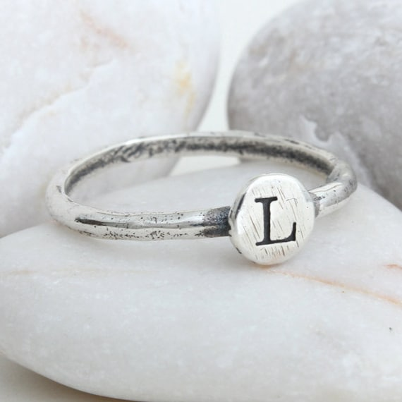 Initial Ring In Sterling Silver Letter Ring Stackable Ring Etsy