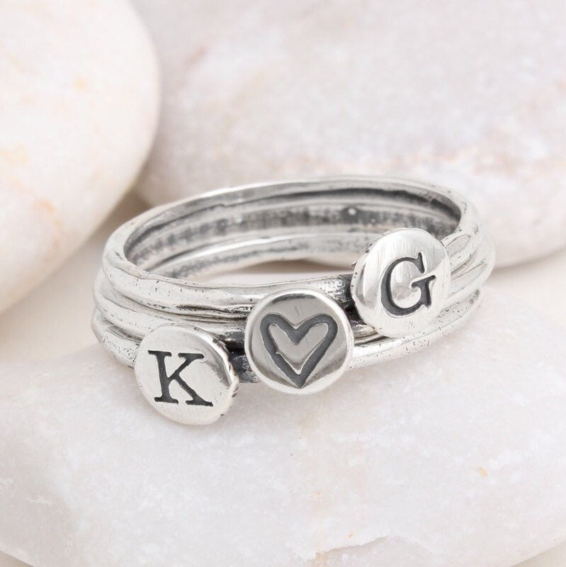 bfcec23c5e Stacking Initial and Symbol Ring, Sterling Silver Ring Set of 3 Bands ...