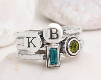 Stacking Initial and Birthstone Rings in Sterling Silver • Set of 4 Stack Rings for Mom • Mother of Two • Simple Gemstone Ring • Letter Ring