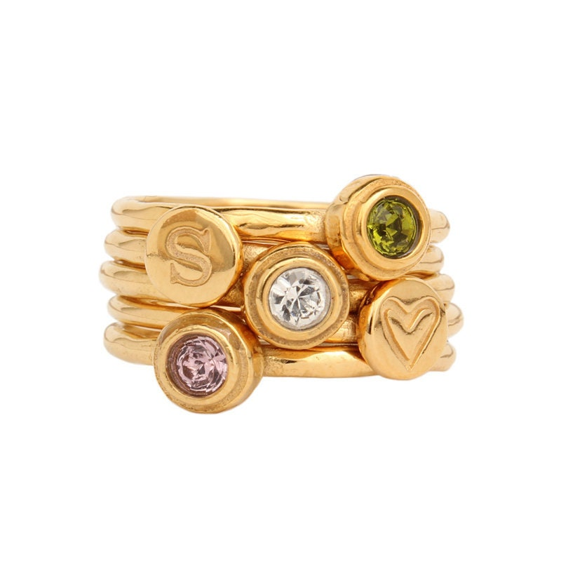 Design Your Own Ring: Design Your Own Birthstone Stackable Ring In 24K Gold Vermeil