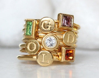 Gold Stacking Rings for Mom. Gold Mothers Ring Set of 8 rings-4 Birthstone Bands & 4 Initial Bands. Personalized Gift for Mom of Four Kids!