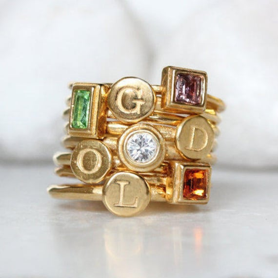 Gold Stacking Rings For Mom Gold Mothers Ring Set Of 8 Etsy