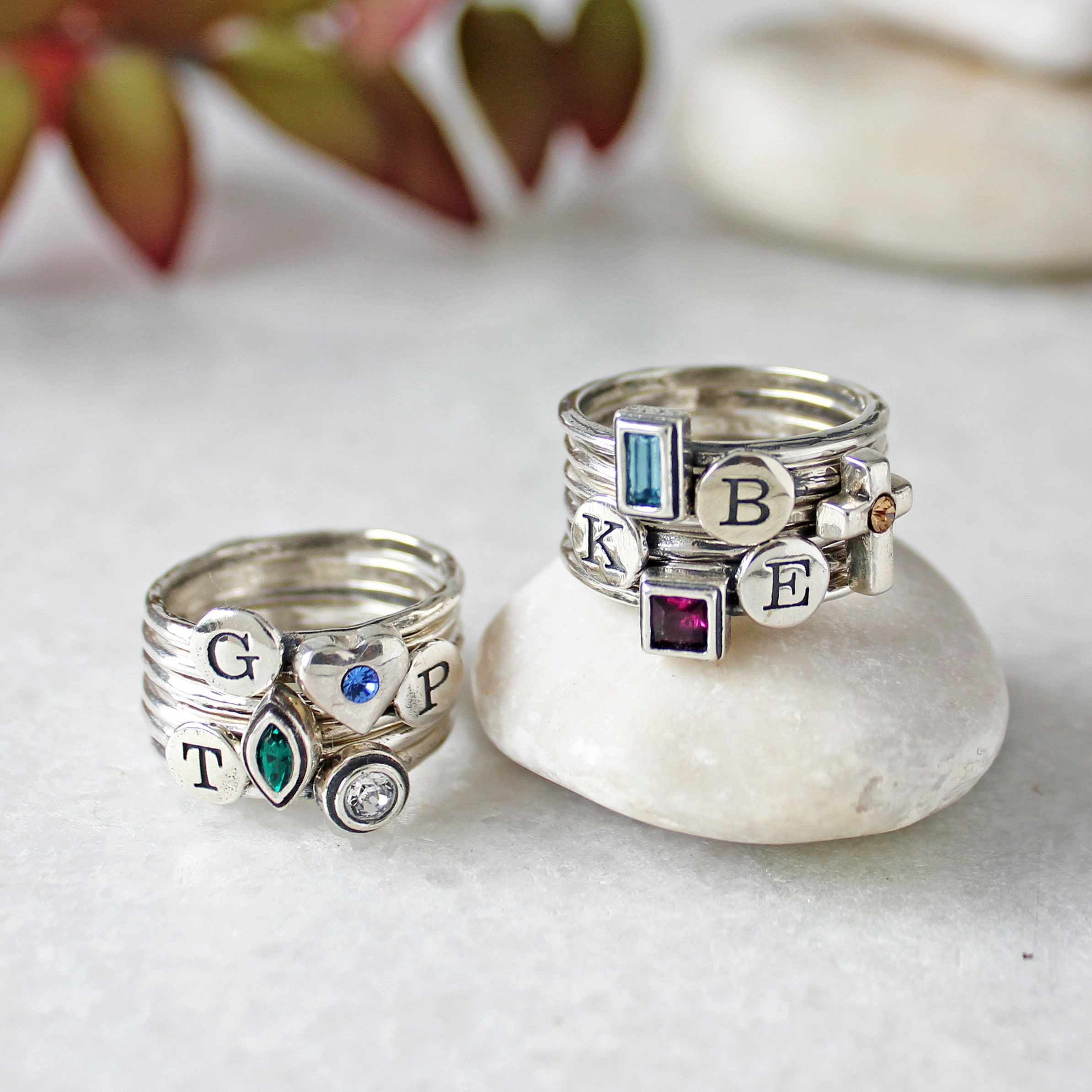 Design Your Own Ring: Design Your Own Silver Stack Birthstone And Initial Ring Set