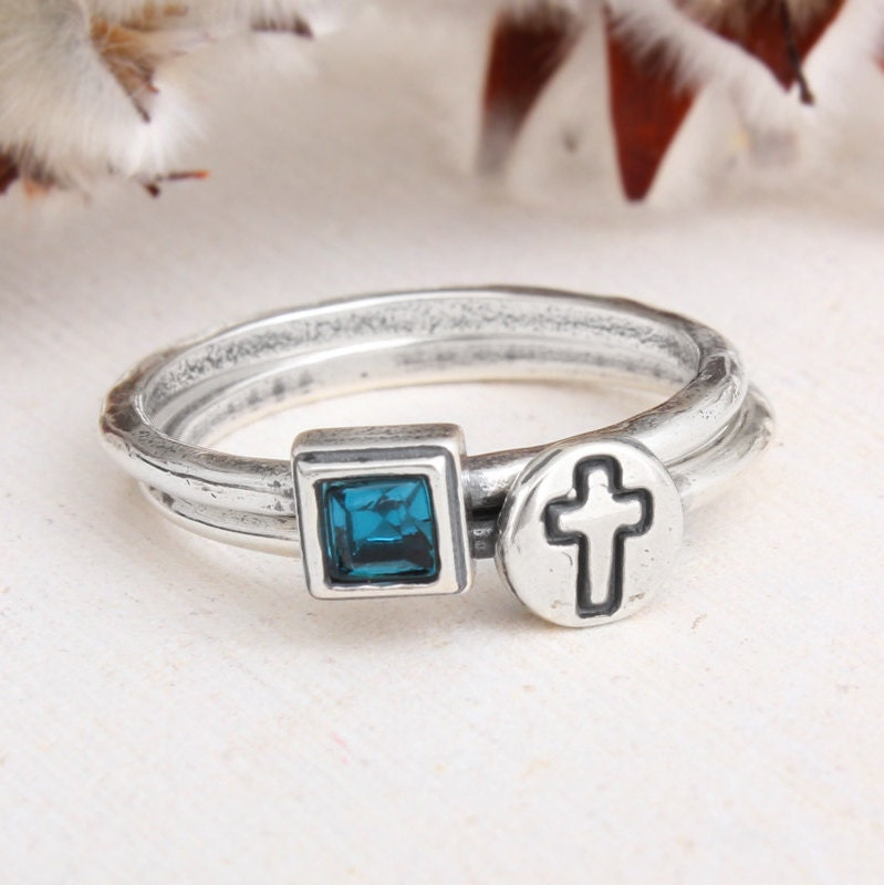 Christian Ring Set of one Cross or Heart and a Birthstone