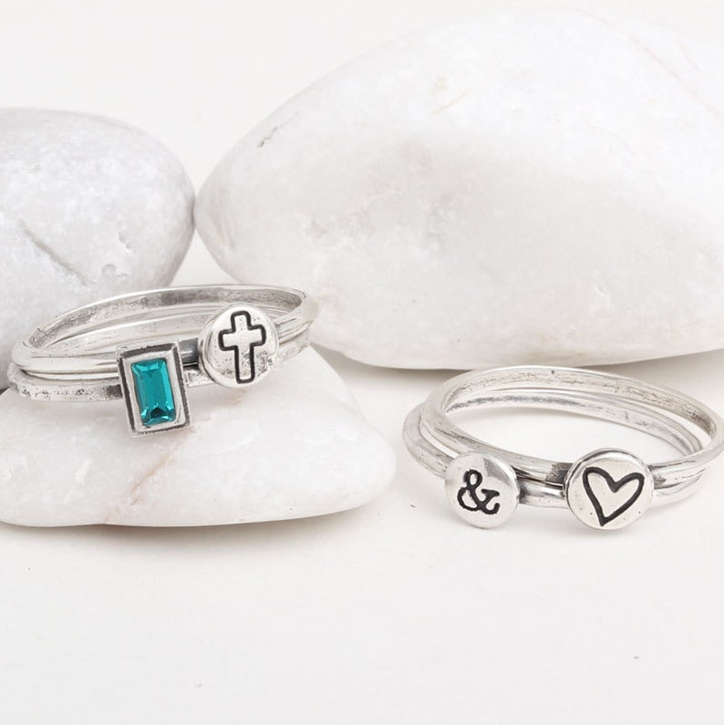 Silver Stackable Initial and Birthstone Ring Set Personalized Sterling Silver Stacking Rings Customized with Birthstone /& Initial by Toozy.