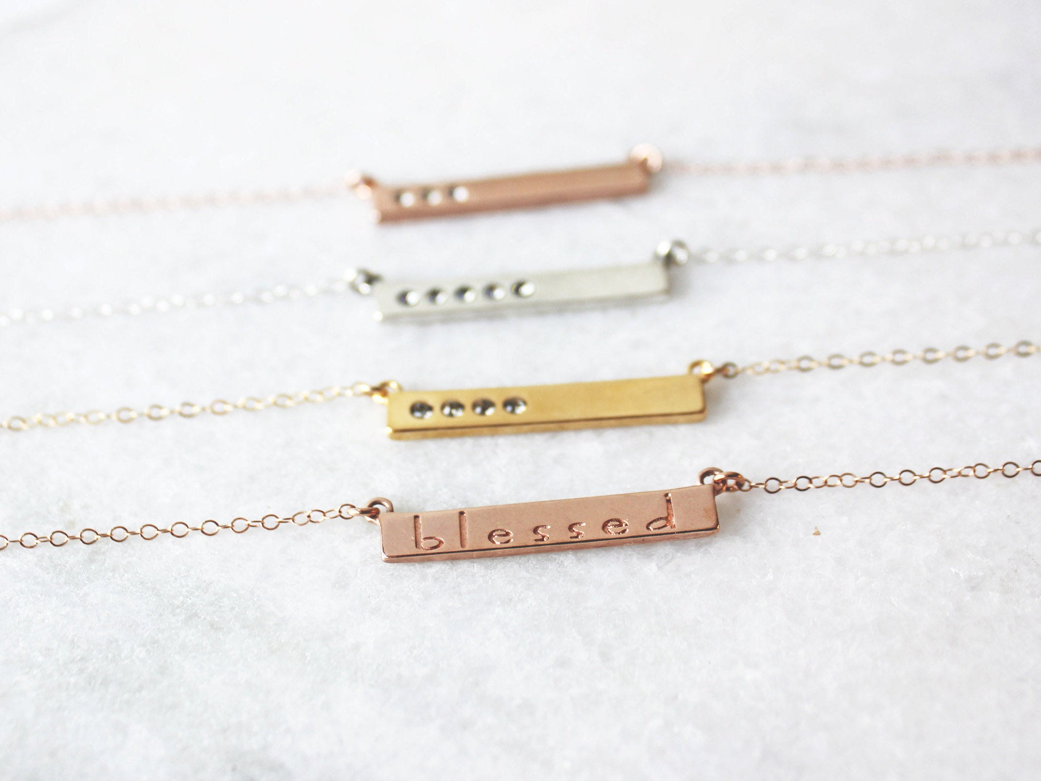 f95055b018ac30 Bar Necklace in Silver, Gold or Rose Gold with Black Diamond ...