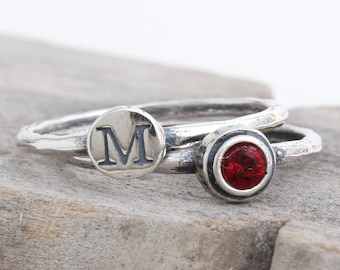 Initial and Birthstone Stacking Ring Set. Sterling Silver Stackable Ring, 1 Initial & 1 Birthstone. Silver Stack Ring, Personalized Ring!