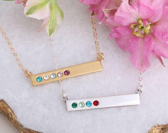 Birthstone Necklace • Birthstone Bar • Birthstone Jewelry • Birthstone Bar Necklace for Mom • Silver • Gold • Rose Gold • Bestseller