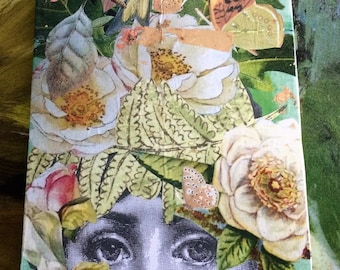 "Paper Collage on Wood Canvas ""Fornasetti Flowers"""