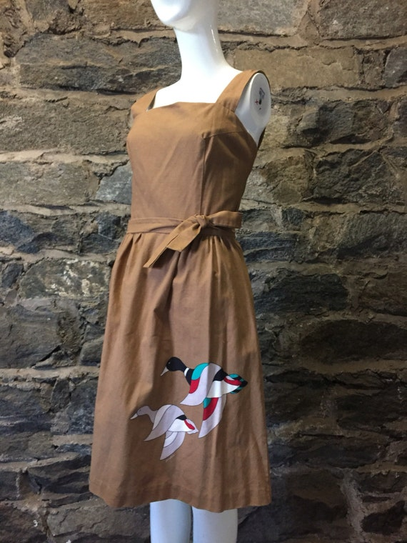 vintage malia of honolulu hawaiian dress in brownw