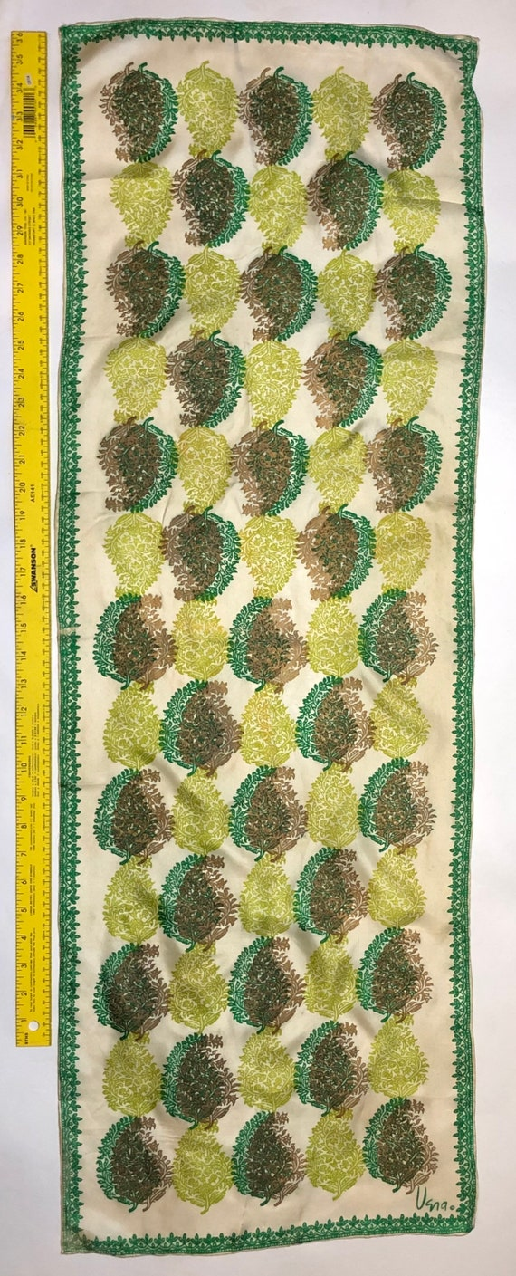 green lime and gold silk Vintage Vera scarf Vera N